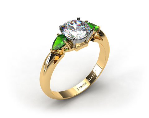 18k Yellow Gold Three Stone Pear Shaped Emerald Engagement Ring
